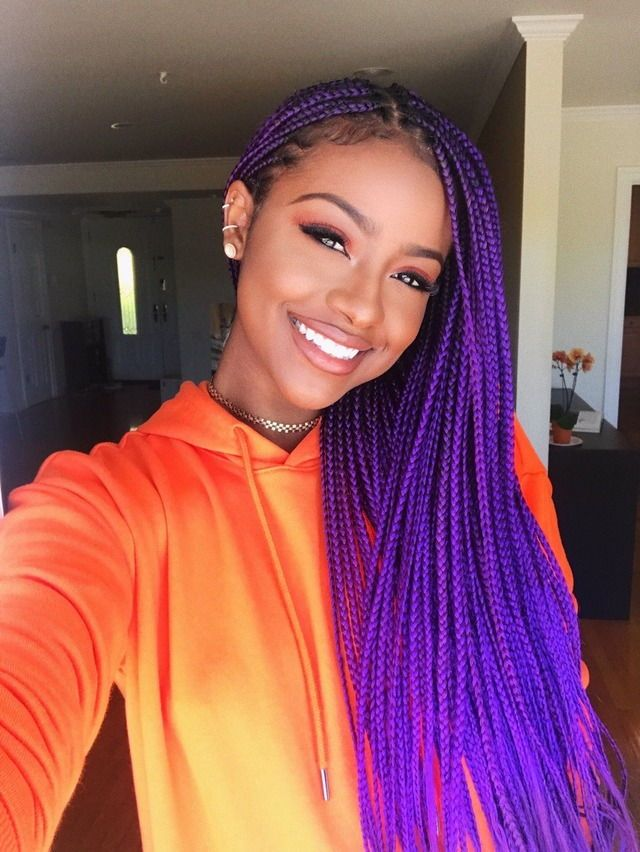 Best Colors To Dye Your Hair: 9 Pretty Examples Of Purple Box Braids